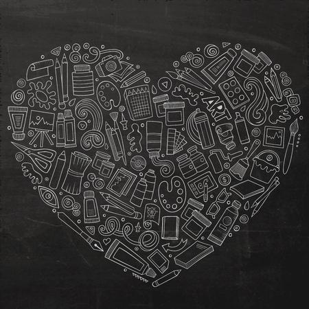 Line art vector hand drawn set of Art cartoon doodle objects, symbols and items. Heart form composition Ilustração