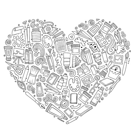 Line art vector hand drawn set of Art cartoon doodle objects, symbols and items. Heart form composition Ilustração