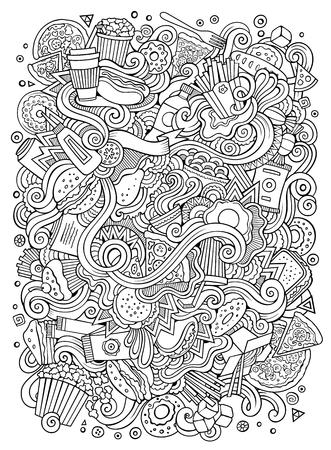 Cute cartoon doodles hand drawn fast-food  illustration.