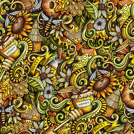 bee on flower: Cartoon cute doodles hand drawn honey seamless pattern. Illustration