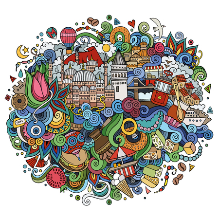 Istanbul vector hand drawn illustration. Illustration