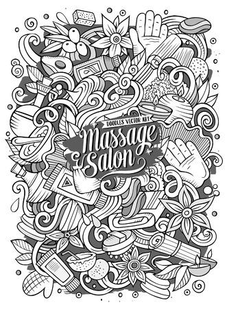 Cartoon cute doodles hand drawn massage illustration. Illustration