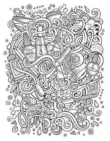 Cartoon doodles nail salon illustration.