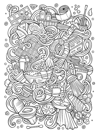 Cartoon schattige doodles badkamer illustratie.
