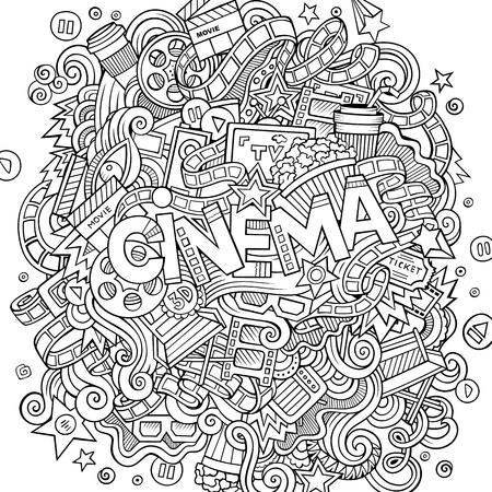 Cartoon cute doodles hand drawn Cinema inscription.
