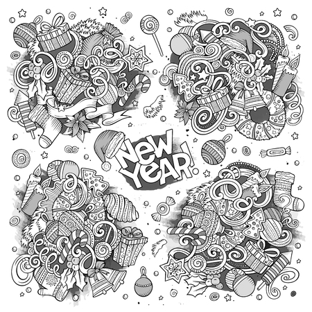 Doodle cartoon set of New Year and Christmas objects. Ilustração