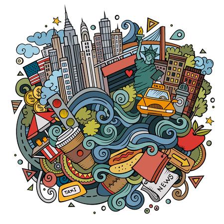 만화 귀여운 낙서 손으로 그려진 뉴욕 그림에 오신 것을 환영합니다. 일러스트