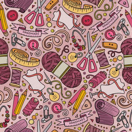Schattig cartoon hand getrokken naaien kit patroon ontwerp.