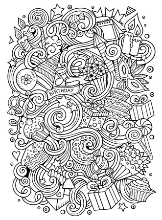 Cartoon hand-drawn doodles holidays illustration. Ilustração