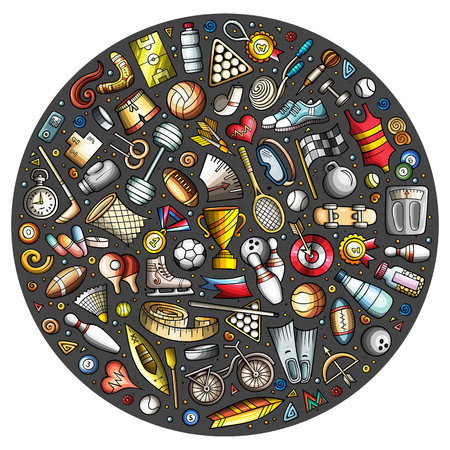 Set of Sport cartoon doodle objects illustration. Ilustrace