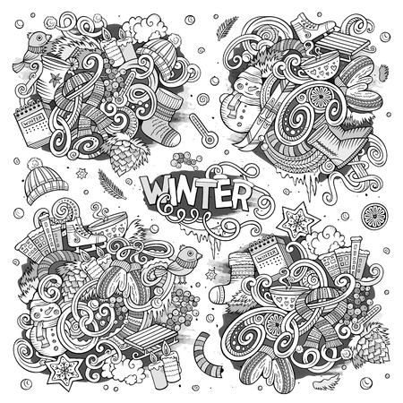 冬の季節の漫画セット落書きデザイン