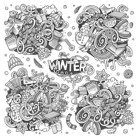 Cartoon set of Winter season doodles designs Stock Photo