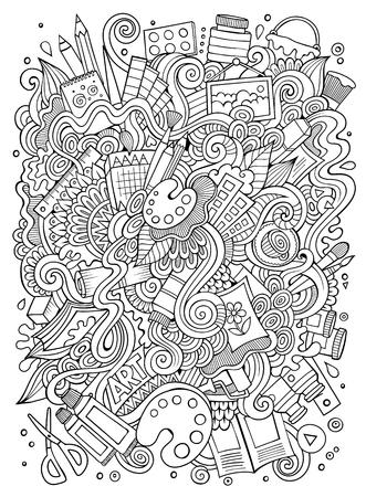 Cartoon doodles hand getrokken artistieke illustratie Stock Illustratie