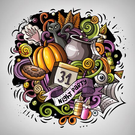 Cartoon vector doodles Happy Halloween illustration