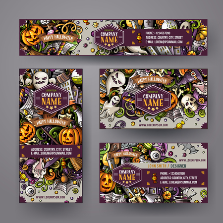 Corporate Identity vector templates set with doodles hand drawn Halloween theme Çizim