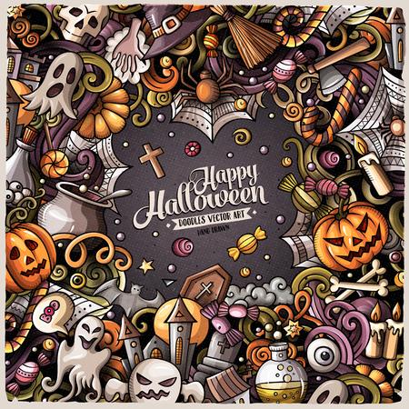 Cartoon schattige doodles hand getekende Happy Halloween frame ontwerp illustratie. Kleurrijke gedetailleerde, met veel objecten achtergrond. Alle items zijn apart .. Grappige vector grens