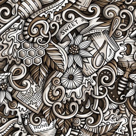 漫画かわいいいたずら書き手の描かれた蜂蜜パターン