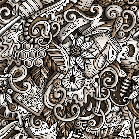 Cartoon cute doodles hand drawn Honey pattern
