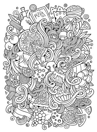 Cartoon hand-drawn doodles Italian food illustration Illustration