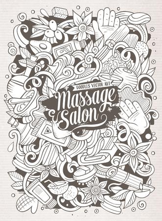 Getrokken de Massageillustratie van beeldverhaal leuke krabbels hand.