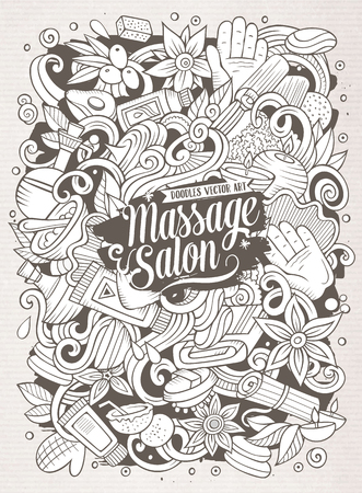 Cartoon cute doodles hand drawn Massage illustration. Illustration