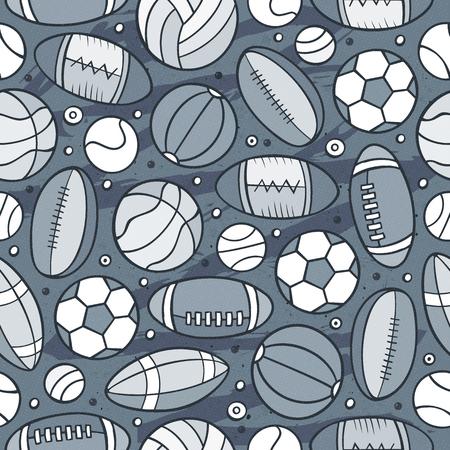Cartoon cute hand drawn Sport seamless pattern