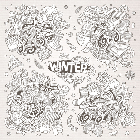 Cartoon set of Winter season doodles designs Illustration