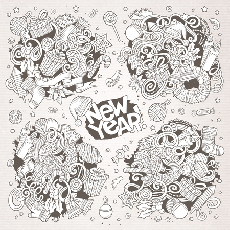 Doodle cartoon set of New Year and Christmas objects Ilustração