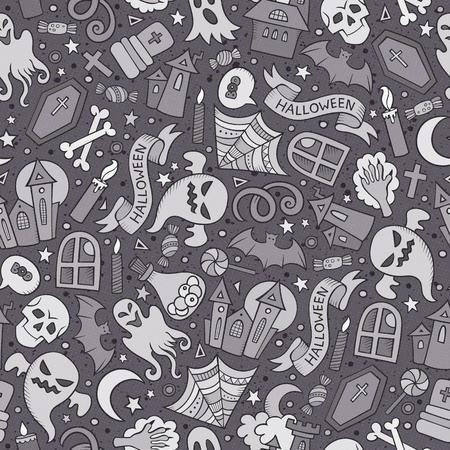 Cartoon schattige hand getekende Halloween naadloze patroon