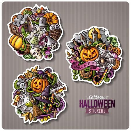 Set of Happy Halloween cartoon stickers