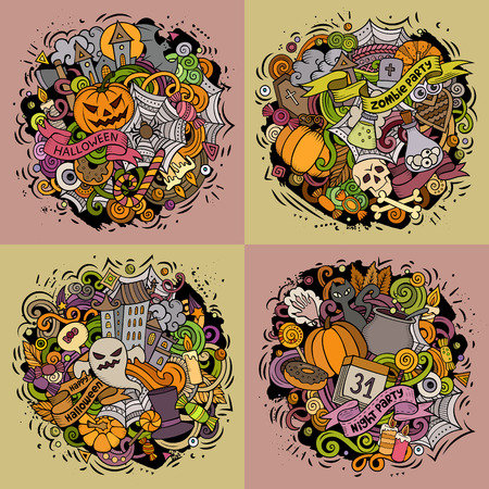Halloween cartoon vector doodle illustration set