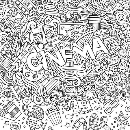 Cartoon cute doodles hand drawn Cinema inscription