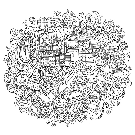 Istanbul vector hand drawn outline illustration Illustration