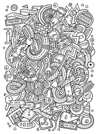 漫画のかわいい落書き Autumotive 図