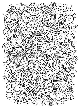 Cartoon cute doodles hand drawn Baby illustration