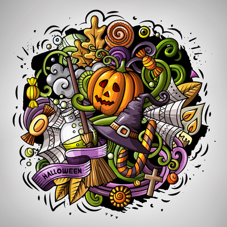 Cartoon vector doodles Happy Halloween illustration