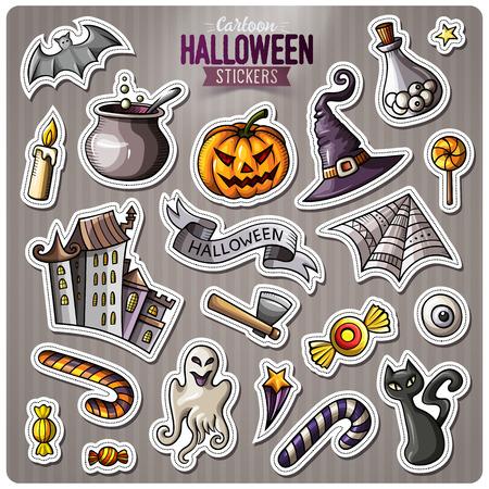 Set van Happy Halloween cartoon stickers. Vector hand getekende objecten en symbolen collectie. Ontwerpelementen labelen. Leuke patches, pins, badges-series. Komische stijl.