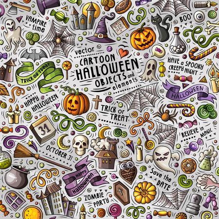 Illustratie van Halloween van beeldverhaal de leuke krabbels hand getrokken met veel voorwerpen. Grappig vectorkunstwerk