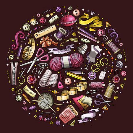 Kleurrijke vector hand getrokken set Hand gemaakt cartoon doodle objecten, symbolen en items. Ronde samenstelling