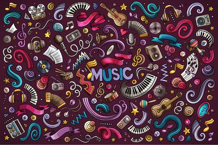 Kleurrijke vector hand getrokken doodles cartoon set muziekobjecten Stock Illustratie