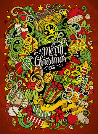 Cartoon cute doodles Merry Christmas illustration Çizim