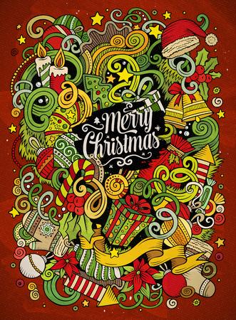 Cartoon cute doodles Merry Christmas illustration Illustration
