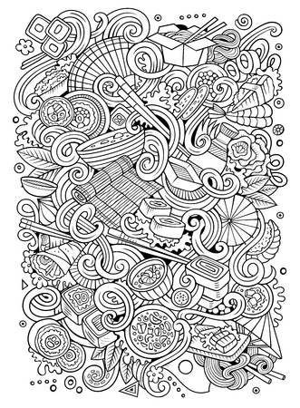 만화 귀여운 낙서 손으로 그린 일본 음식 일러스트 레이 션. 라인 아트, 많은, 배경 개체와.