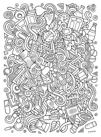 Cartoon cute doodles hand drawn medical illustration.