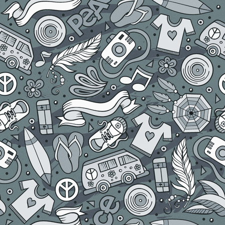 Cartoon hand-drawn hippie doodles seamless pattern. Toned detailed, with lots of objects vector background