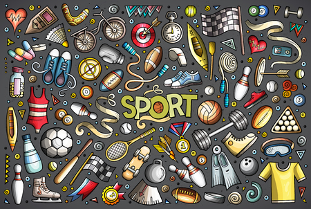 Colorful hand drawn doodle cartoon set of Sport objects and symbols.