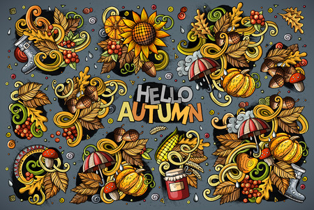 Colorful hand drawn set of Hello Autumn themes, objects and symbols.