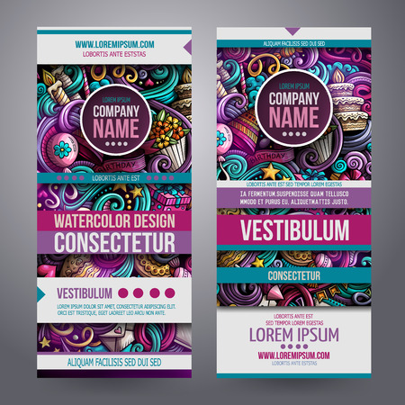 Cartoon cute colorful vector hand drawn doodles holidays corporate identity. Two vertical banners Templates design set.