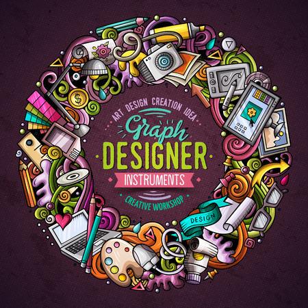 Dessin animé vecteur doodles Conception conception de cadre rond. Coloré détaillé, avec beaucoup d'illustration d'objets. Tous les articles sont séparés. Couleurs vives Art frontière drôle