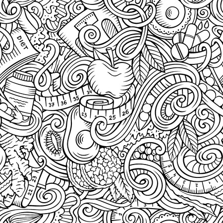 Cartoon cute doodles hand drawn Diet food seamless pattern. Line art detailed, with lots of objects background. Endless funny vector illustration Illustration